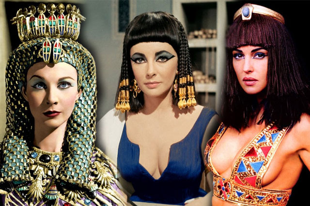 Vivian Leigh, Elizabeth Taylor, and Monica Bellucci portraying Cleopatra as an extreme beauty.