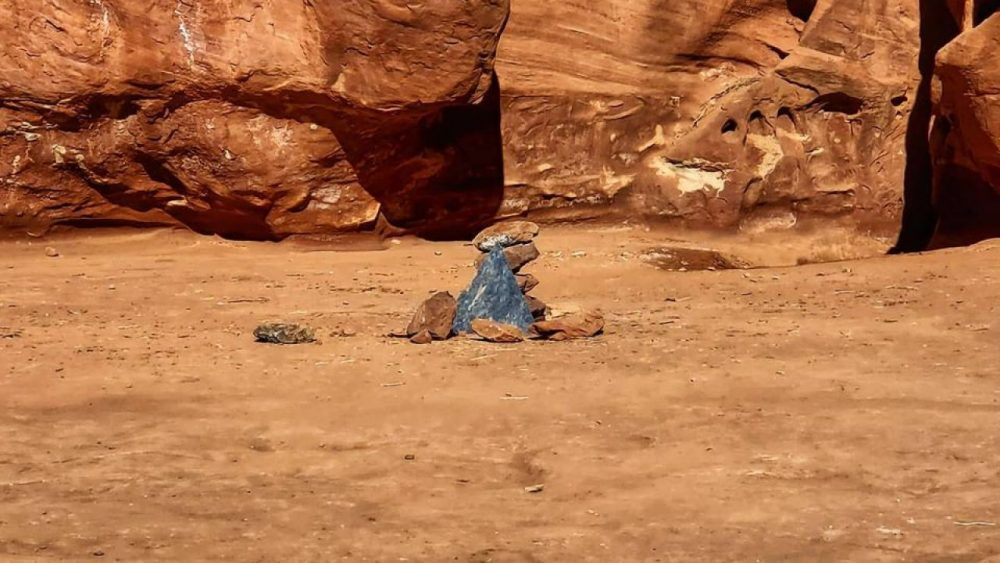 This is what remains from the fascinating Monolith in the Utah Desert. Credit: Fox 13