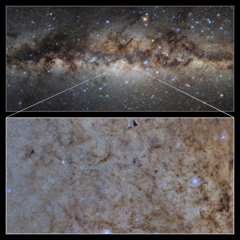 A pull-out image on the bottom from the center of the core of our galaxy. Credit: CTIO/NOIRLab/DOE/NSF/AURA/STScI, W. Clarkson (UM-Dearborn), C. Johnson (STScI), and M. Rich (UCLA)/E.Slawik