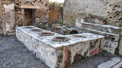 A Thermopolium in Herculaneum, one of the cities destroyed by Mount Vesuvius.