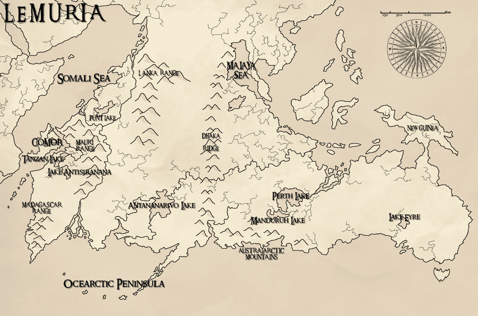 A detailed imaginary map of Lemuria based on the legends. Credit: Reddit