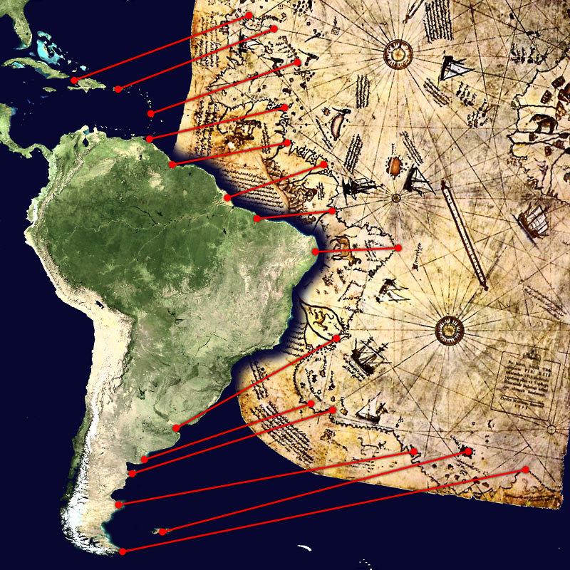 All the evidence you need to be sure that the Piri Reis map is accurately presenting the current coastline South America. Credit: Pinterest