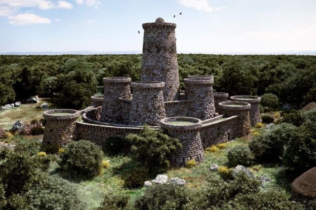 Reconstruction of Nuraghe Arrubio as it should have looked in ancient times. Credit: Sardinia Property Finder
