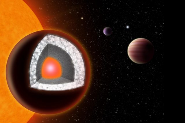 An illustration of 55 Cancri e shows a surface of mostly graphite surrounding a thick layer of diamond. Source: HAVEN GIGUERE, YALE