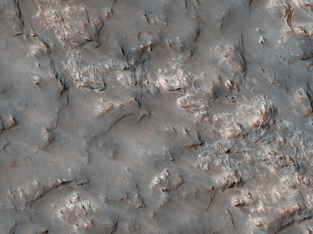 Bedrock within the Koval'sky impact basin. Credit: NASA