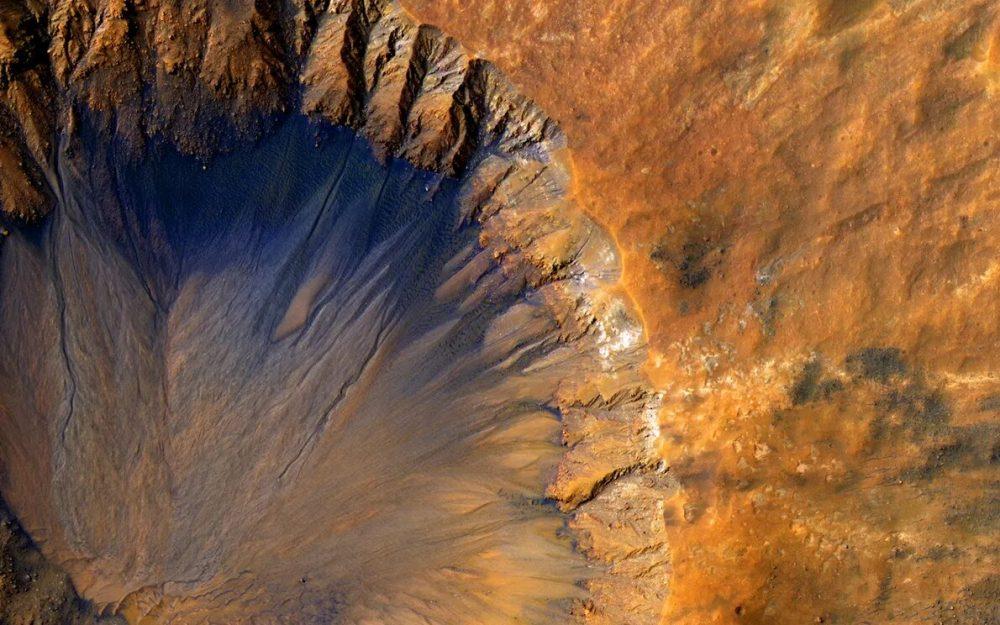 A crater near Sirenum Fossae. Credit: NASA
