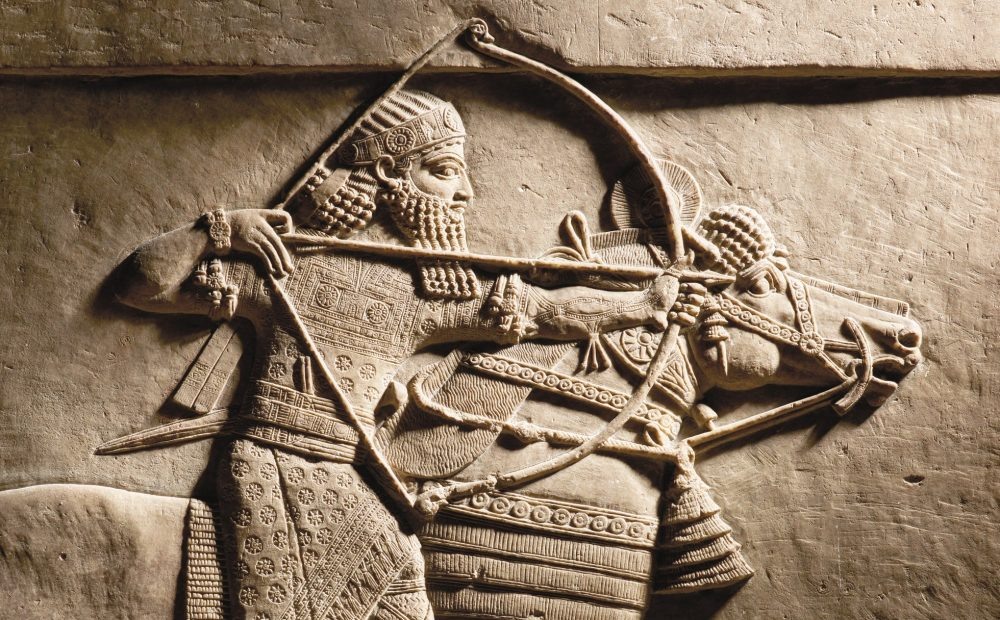 King Ashurbanipal riding and hunting. According to Mesopotamian texts from this period, warriors back then also suffered from PTSD. Credit: The Trustees of the British Museum