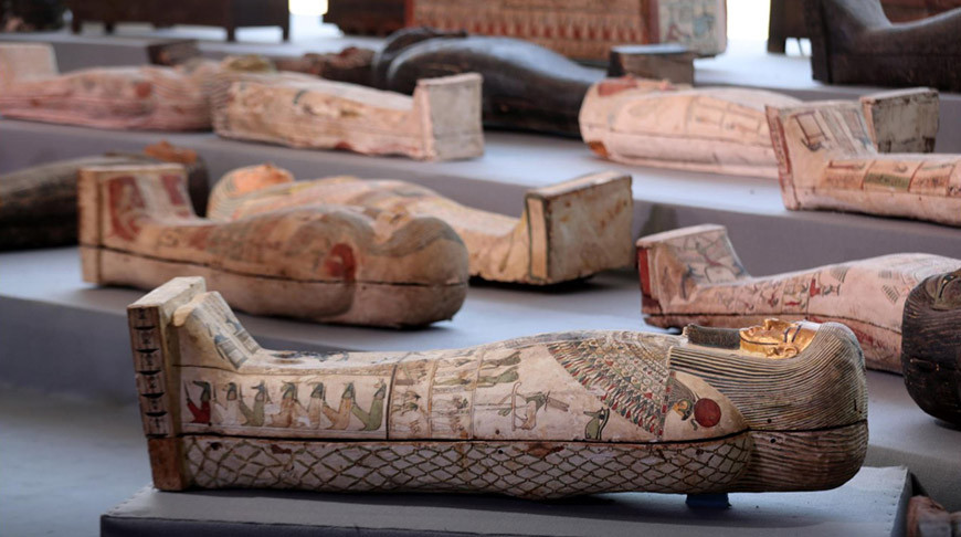 Several of the coffins from the latest discovery. Credit: Reuters