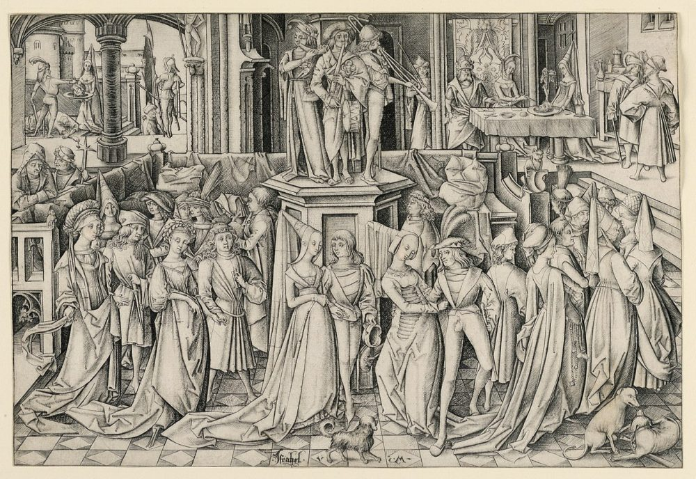 """""""Dance at Herod's Court"""", a 1490 engraving by German Printmaker Israhel van Meckenem. Credit: Wikipedia"""