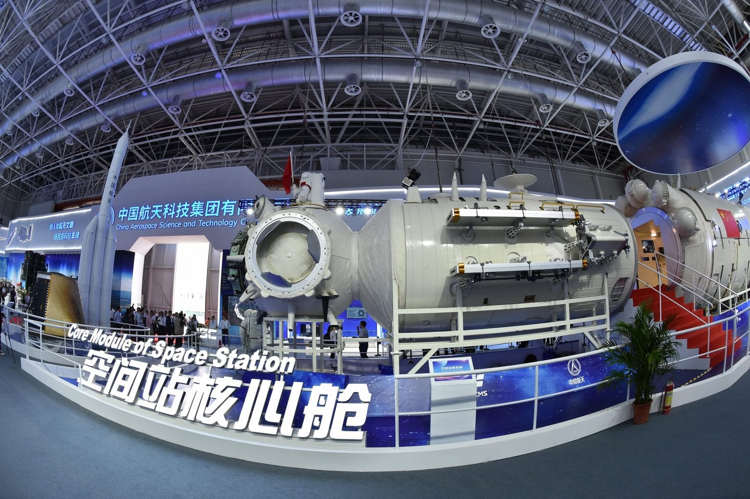 Real-scale model of the core module of the Chinese space station. Credit: Xinhua/Liang Xu
