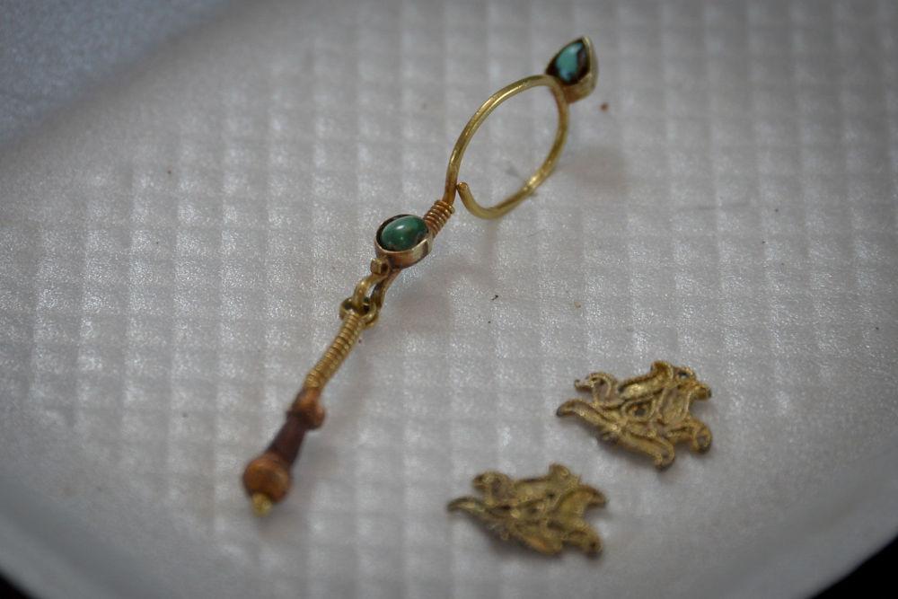 The golden earring resembling a question mark sign. Credit: Elena Berezhnaya