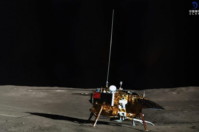 The Chang'e 4 lander photographed by the Yutu-2 rover. Credit: CLEP/ Lunar and Planetary Multimedia Database