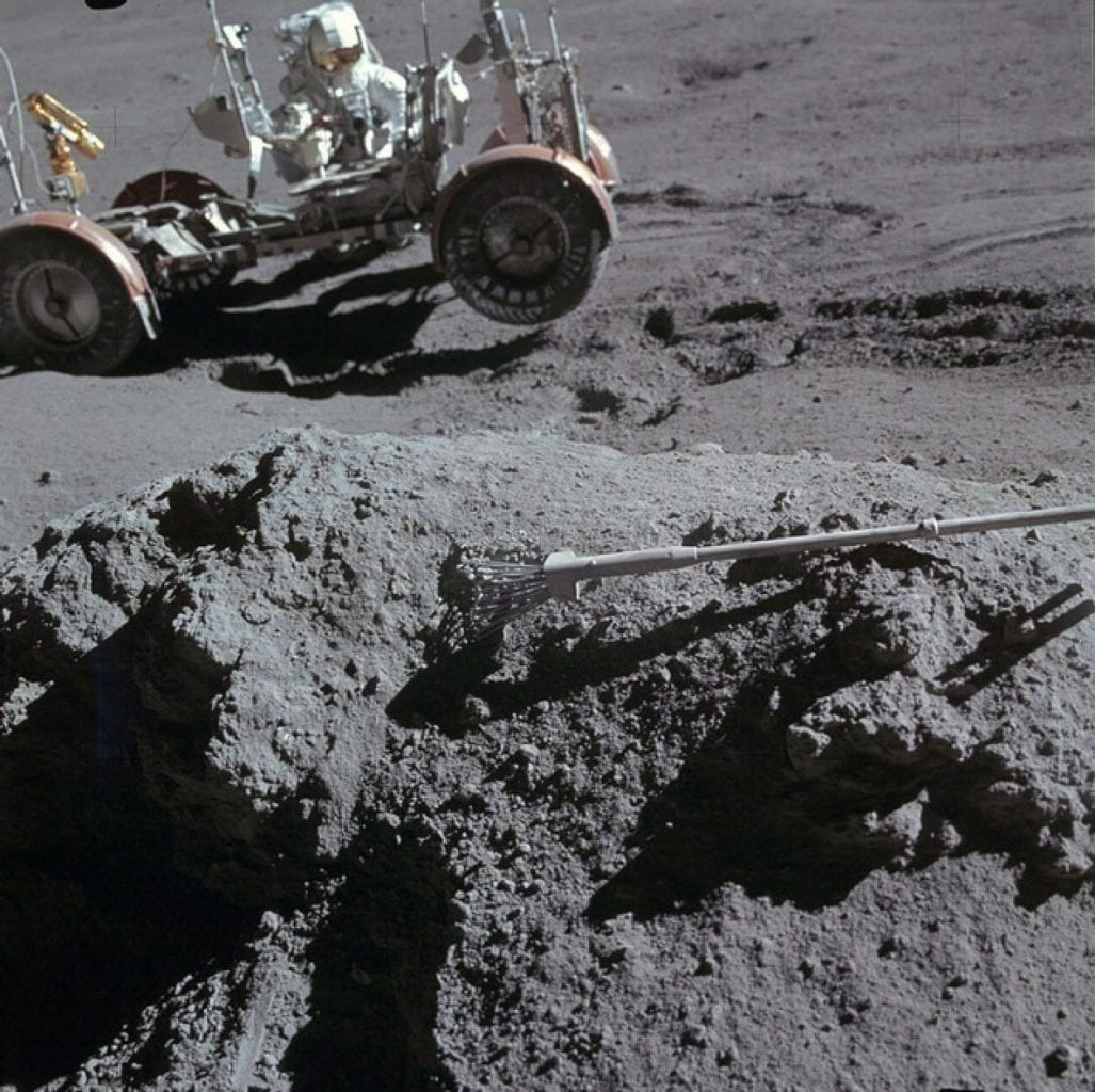 Sample collecting photo from the Apollo 15 mission to the Moon. Credit: Smithsonian National Air and Space Museum / NASA