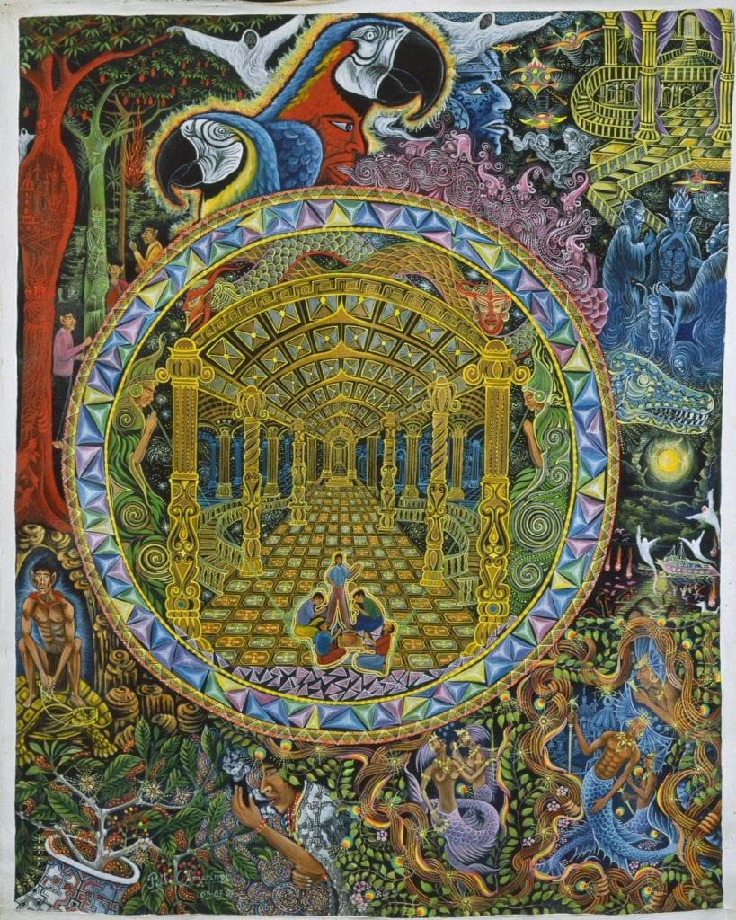 """""""Los Grados del Curandero"""", a painting depicting visions after ayahuasca intake by Peruvian artist Pablo Amaringo. Credit: Pablo Amaringo"""