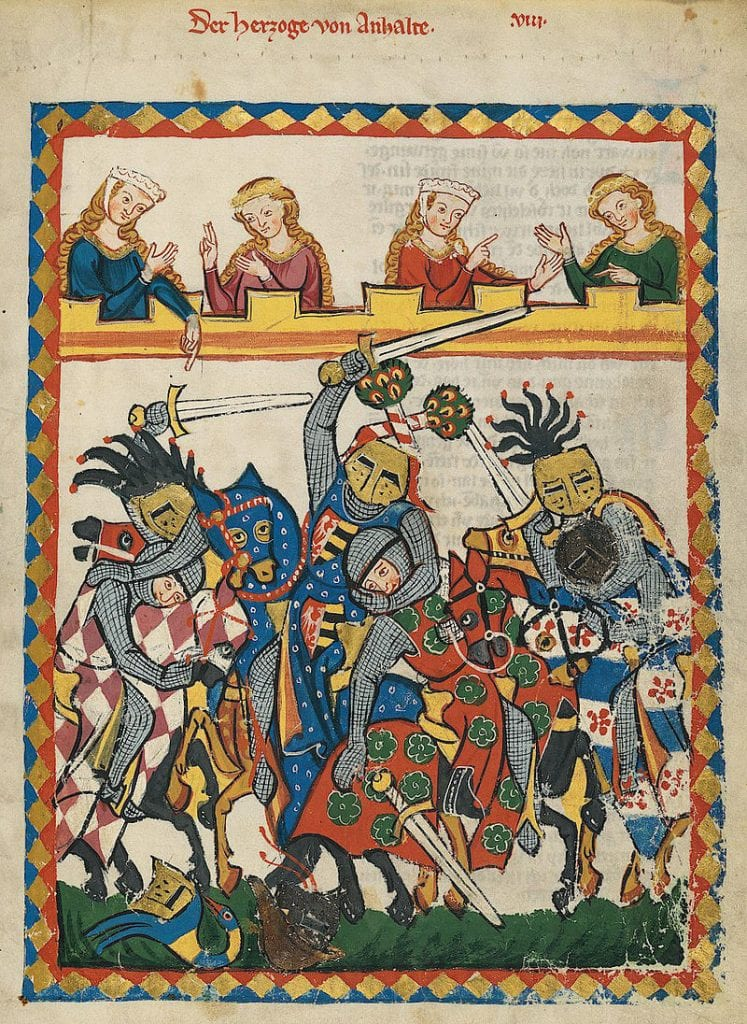 Illustration of a Knight tournament from a 13th century manuscript called Codex Manesse. Such tournaments were a common means of entertainment and fun in Medieval times. Credit: Wikipedia