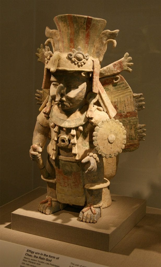 An Earthenware effigy urn from the 12-14th centuries depicting the Mesoamerican deity Chac. Credit: Wikimedia Commons
