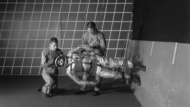 Training in a reduced gravity walking simulator. Credit: NASA