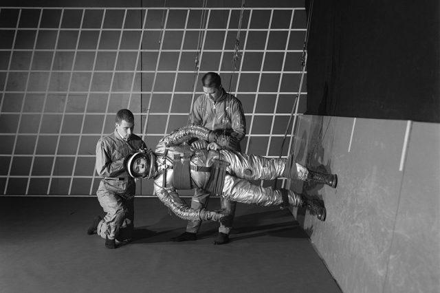 Training in a reduced gravity walking simulator. Credit: NASA