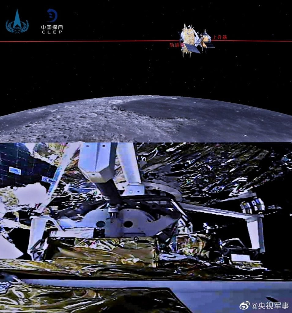 This shows on-screen CGI of the docked Chang'e ascent and orbiter spacecraft, and below the actual gripping arm and bar mechanism activated. CNSA/CLEP