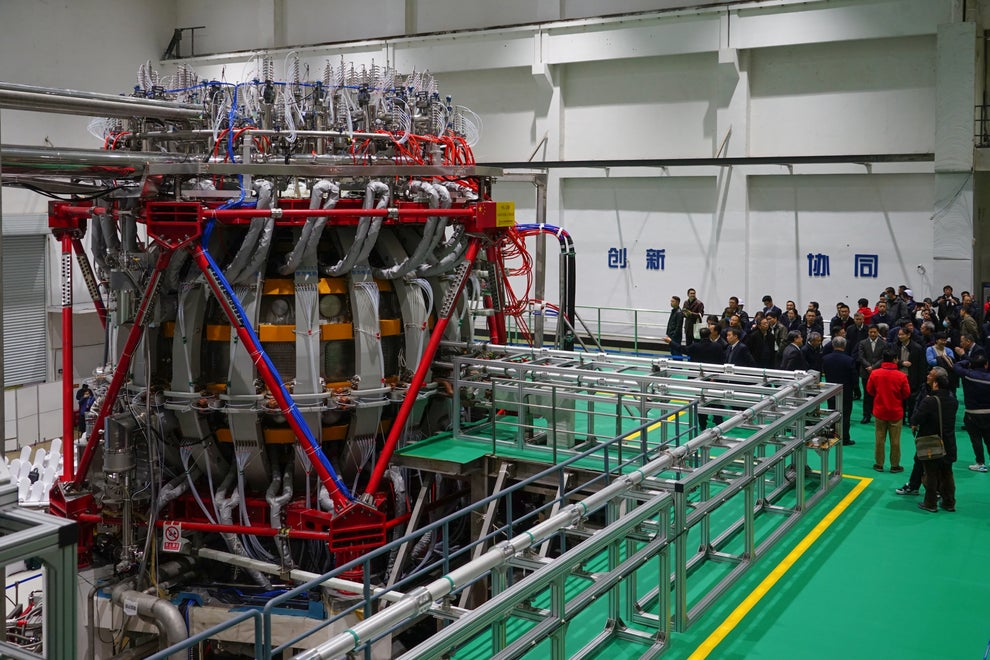 "Four days ago on December 4, the Chinese ""artificial sun"" HL-2M Tokamak achieved its first official plasma discharge. Credit: China Atomic Energy Authority"