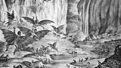 "This lithograph ""depicting"" the Great Moon Hoax was published in the Sun in 1835. Credit: Wikipedia"