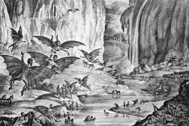 """This lithograph """"depicting"""" the Great Moon Hoax was published in the Sun in 1835. Credit: Wikipedia"""