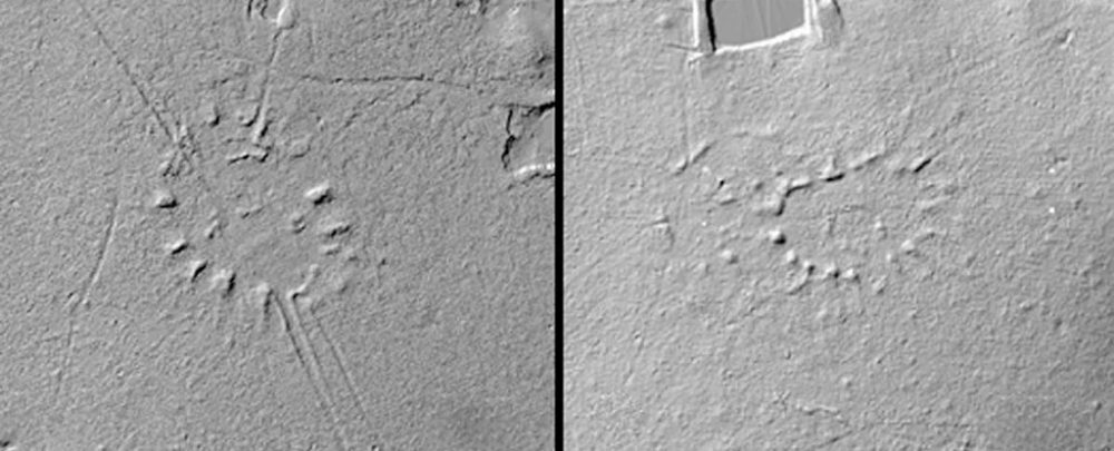 A LiDAR image showing villages paid out like the rays of the Sun. Image Credit: J. Riarte / CAA.
