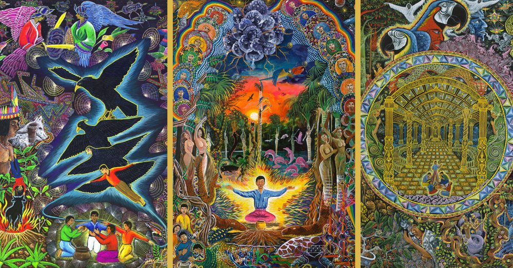 Three other paintings of ayahuasca visions by the same painter. Ayahuasca contains DMT. Credit: Pablo Amaringo