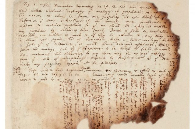 A part of the handwritten notes by Sir Isaac Newton and his investigation into the Great Pyramid of Egypt. Image Credit: Sotheby's.