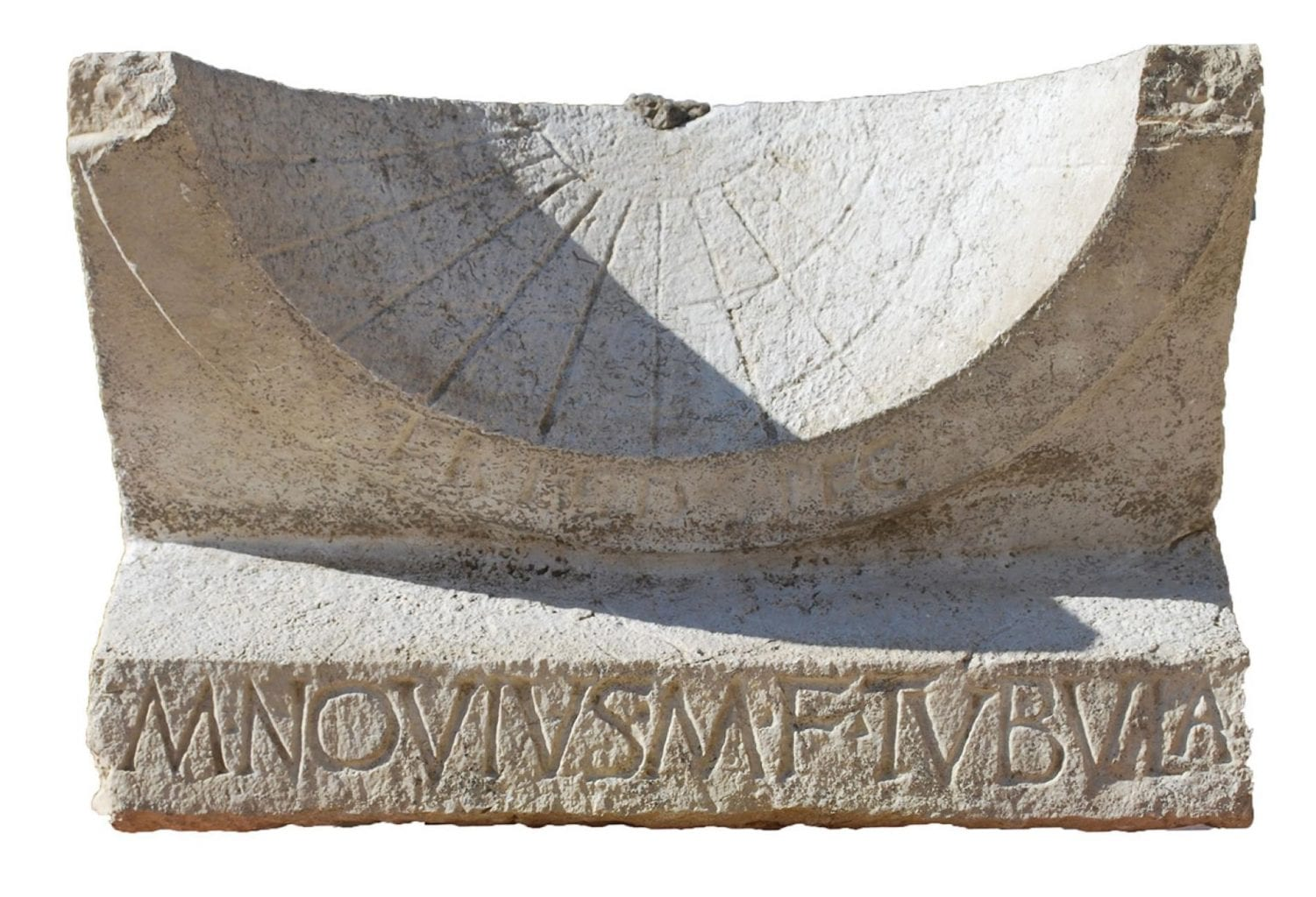 A 2000-year old sundial, once donated by  Marcus Novius Tubula after his election victory. Credit: National Geographic