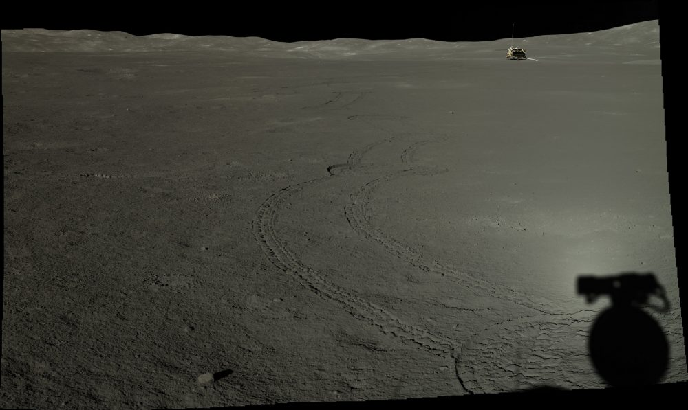 Another image by Yutu-2 in which we see its tracks too. Credit: CLEP/Doug Ellison, Twitter.