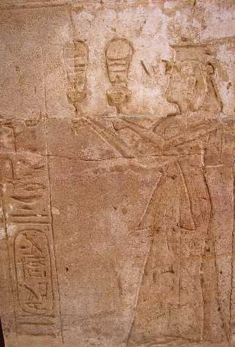 Twosret playing the sistrum at Amada Temple, Nubia.