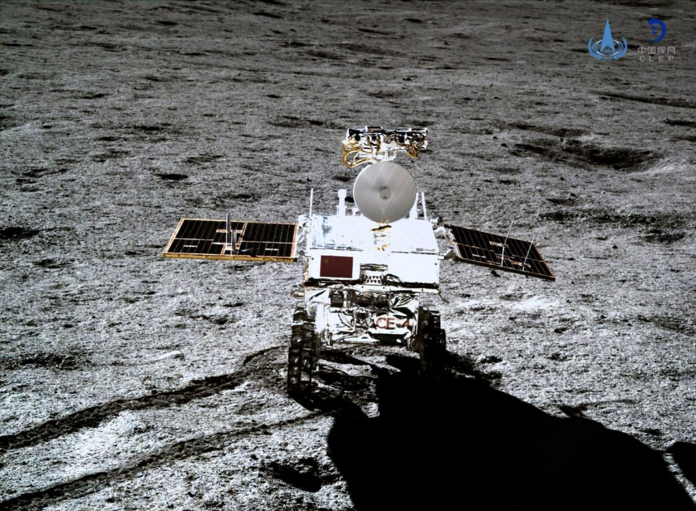 The Chang'e 4 lunar rover Yutu-2 photographed from the lander. Credit: CNSA/CLEP
