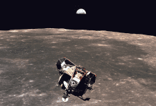 "This photo from the legendary Apollo 11 mission to the Moon was snapped by astronaut Michael Collins as the ""Eagle"" lunar module was returning to the spaceship. Credit: NASA"
