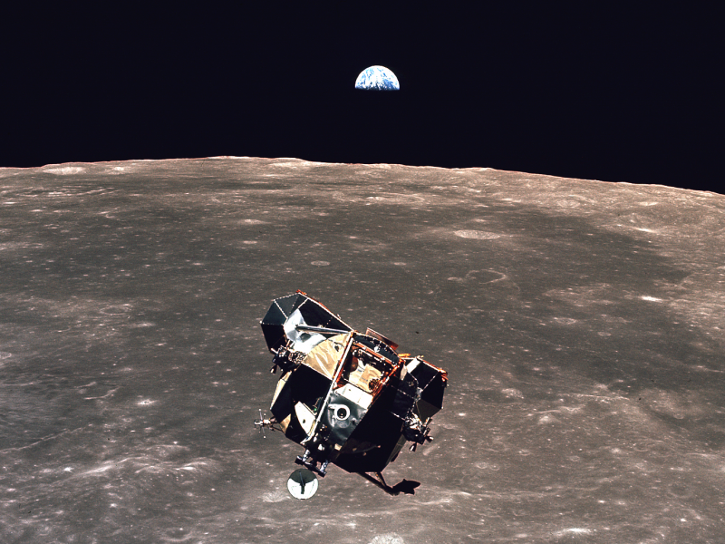 """This photo from the legendary Apollo 11 mission to the Moon was snapped by astronaut Michael Collins as the """"Eagle"""" lunar module was returning to the spaceship. Credit: NASA"""