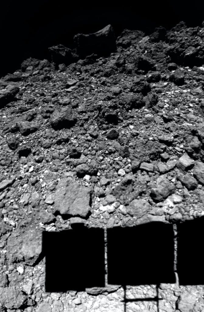 A photograph of asteroid Ryugu moments before Hayabusa2 landed for samples. Credit: JAXA/U. Tokyo/Kochi U./Rikkyo U./Nagoya U./Chiba Inst. Tech./Meiji U./U. Aizu/AIST, CC BY-SA