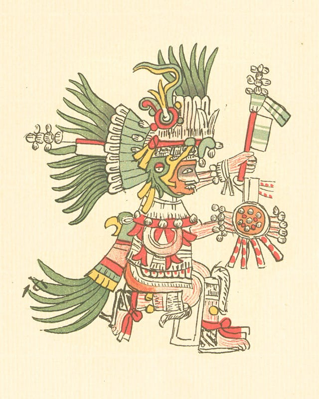 A depiction of Huitzilopochtli in the 16th century Codex Telleriano-Remensis. Credit: FAMSI / PUBLIC DOMAIN