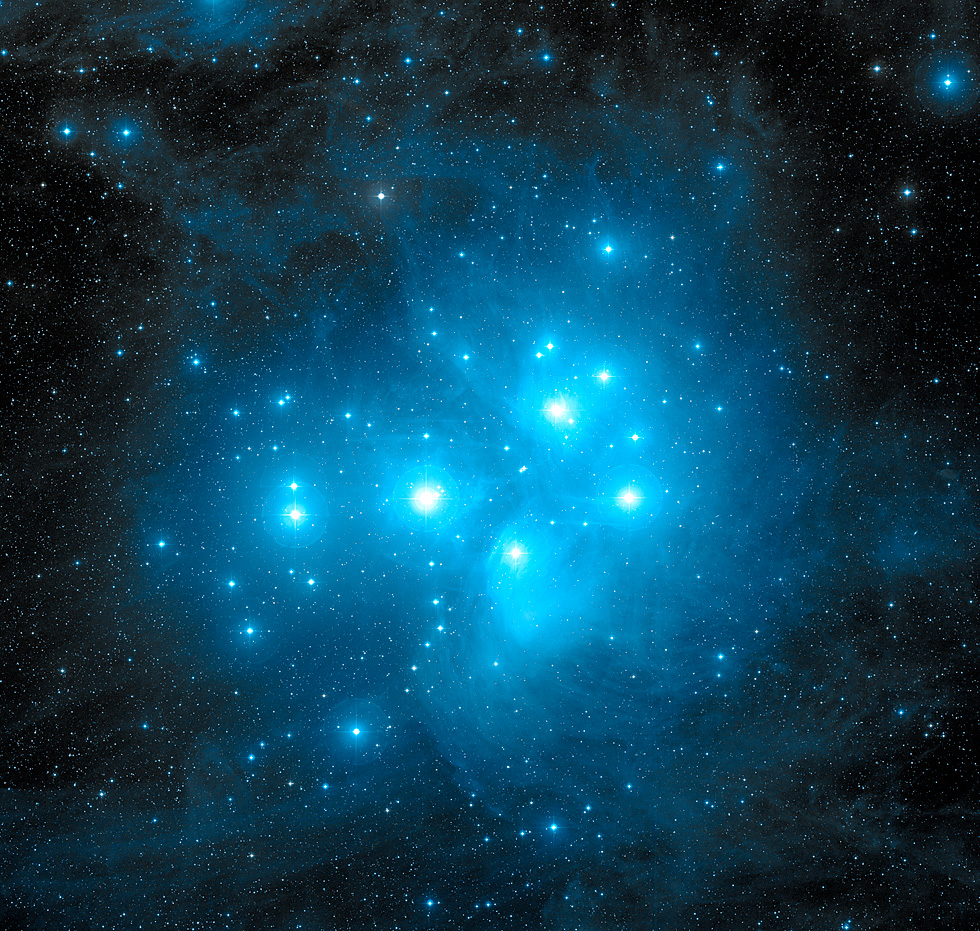 The Pleiades Star Cluster, subject of countless myths and legends from time immemorial. Credit: Caltech, Palomar Observatory, Digitized Sky Survey