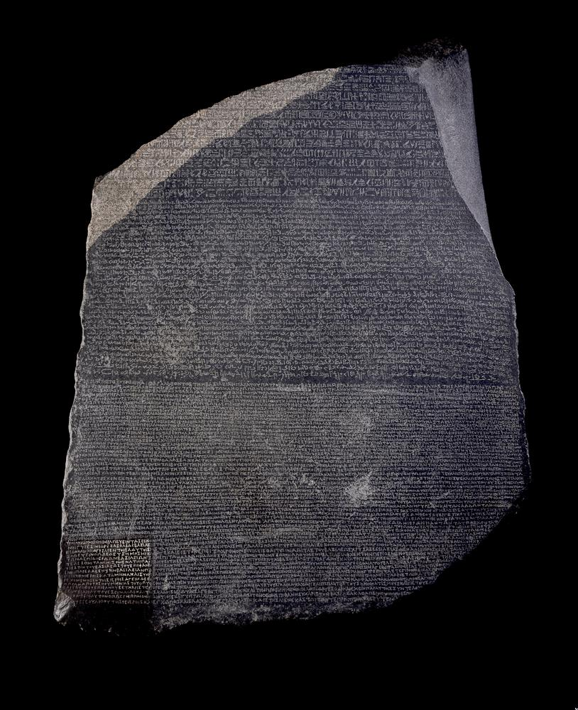 The Rosetta Stone - the unexpected answer to the mystery of the Ancient Egyptian Writing. Credit: British Museum