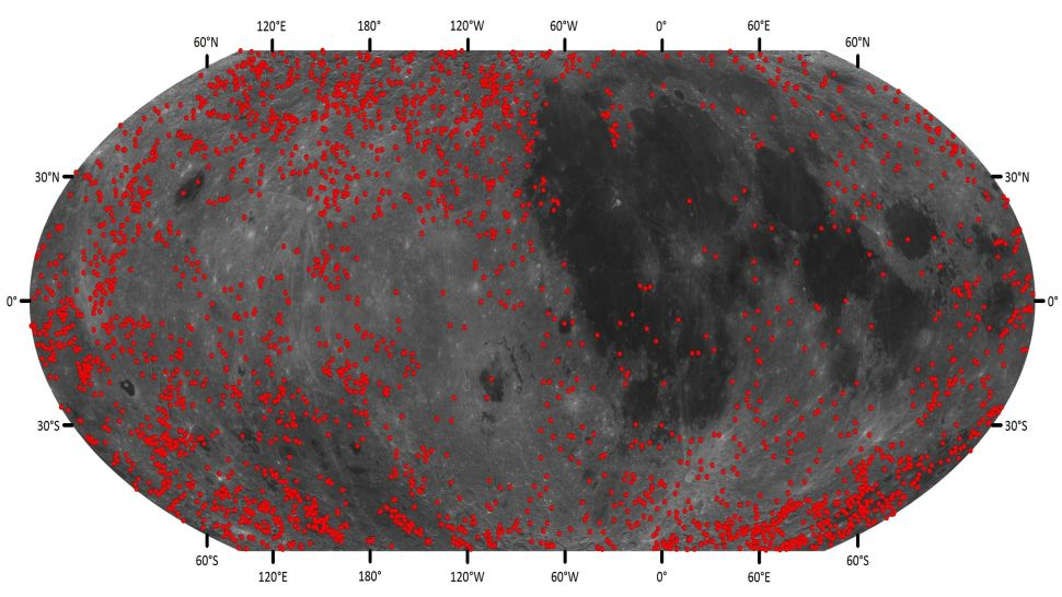 These are all the new Moon craters discovered from the pre-Nectarian system. This means they are all at least 3.92 billion years old. Credit: Chen Yang