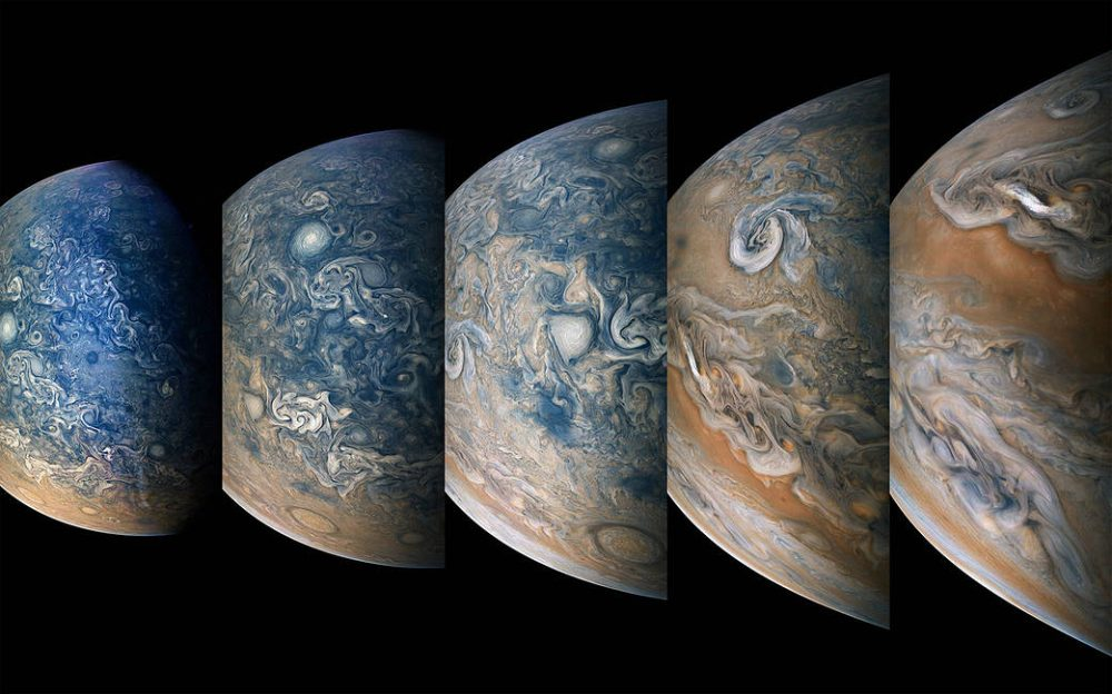 Color-enhanced images of the atmospheric features of the northern hemisphere. Credit: NASA/Juno Image Gallery