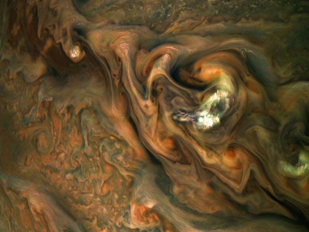 Intricate patterns in a jet stream region in the Northern Hemisphere. Credit: NASA/Juno Image Gallery