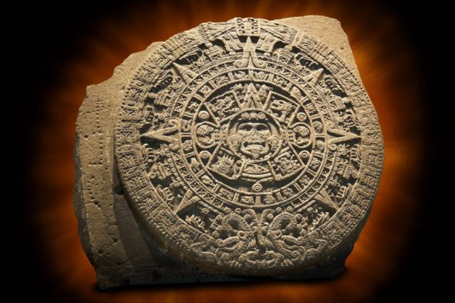 The Aztec Sun Stone with the Sun God Tonatiuh depicted in the middle. Credit: Shutterstock