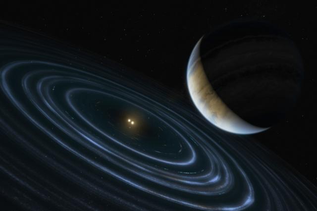 Artistic depiction of exoplanet Planet HD 106906 b. Credit: NASA, ESA, and M. Kornmesser (ESA/Hubble)