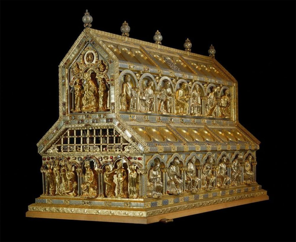 Here is how the reliquary which to this day stores the relics of the Three Wise Men in Cologne looks like. There are plenty of photographs from the cathedral online but this image comes with better quality and detail. Credit: John Sanidopoulus