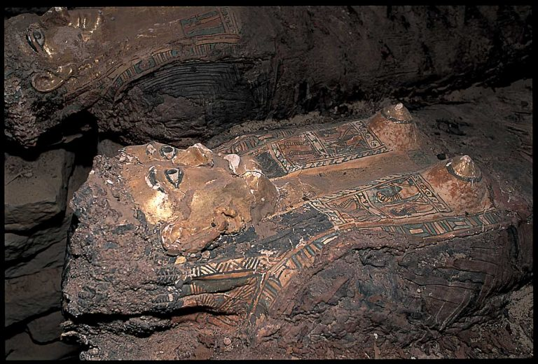 Remains of a realistic mummy of a female in the Valley of the Golden Mummies. Credit: Dr. Zahi Hawass