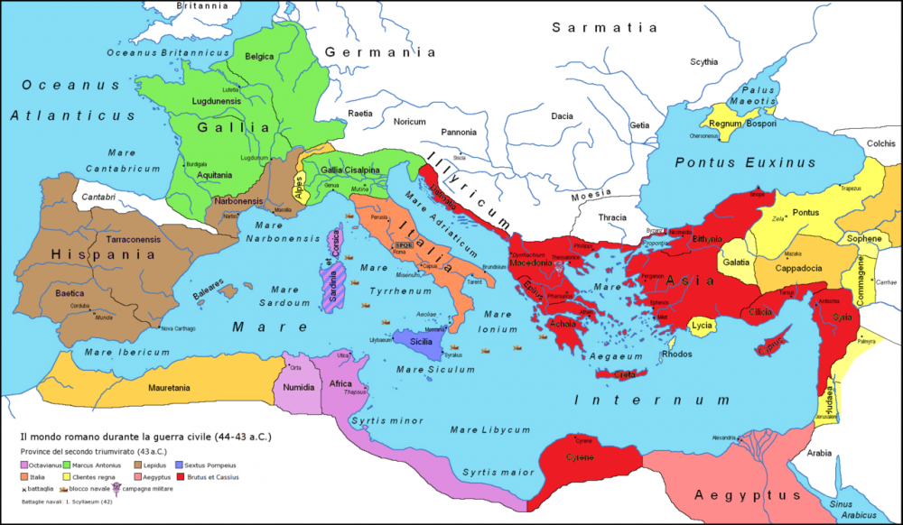 Rome's territories during the Second Triumvirate. Credit: Wikimedia Commons