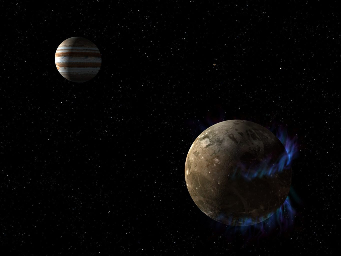 Artist's concept of Jupiter and its largest moon Ganymede. The moon's auroral belts have also been illustrated in blue. Credit: NASA