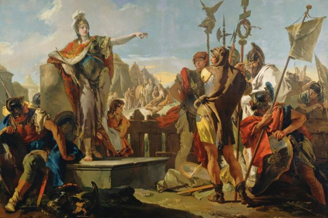 """One of the most famous paintings of Queen Zenobia, """"Queen Zenobia Addressing Her Soldiers"""" by painter Giovanni Battista Tiepolo. Credit: National Gallery of Art"""
