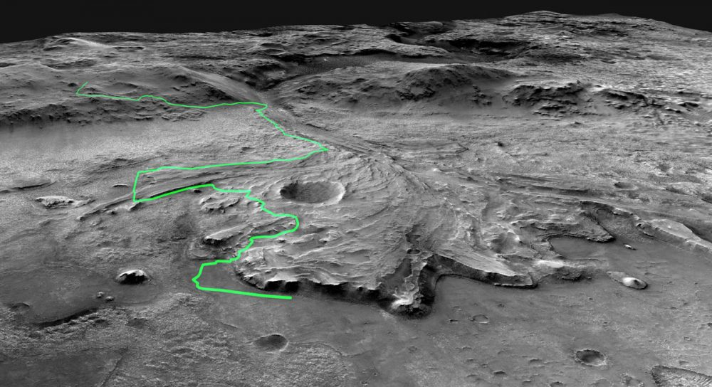 The possible path of the Perseverance rover is shown here on a mosaic image of the Jezero Crater on Mars. Credit: NASA/JPL-Caltech